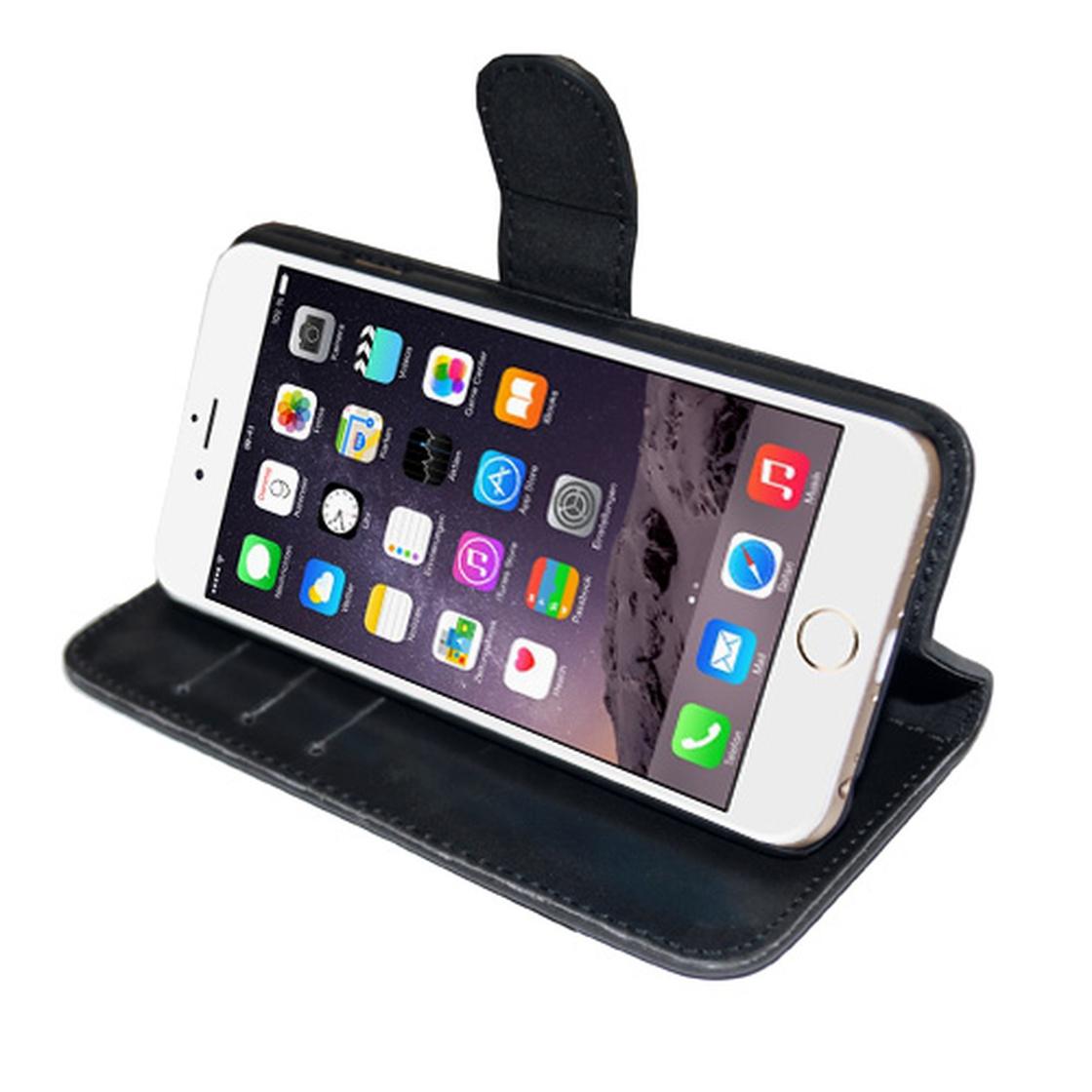 leder bookstyle tasche mit lasche f r iphone 7 plus. Black Bedroom Furniture Sets. Home Design Ideas