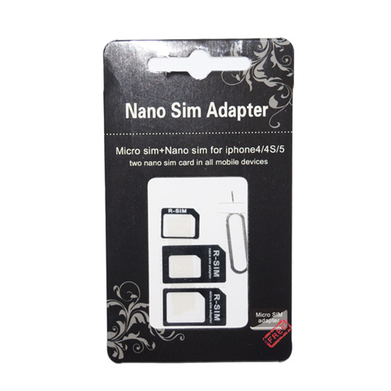 4in1 Micro Nano Simd Adapter Set mit Tool Schwarz
